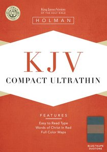 KJV Compact Ultrathin Bible Blue/Taupe Leathertouch