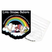 Notepad Die-Cut: Laedee Bugg Live.Dream.Believe