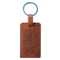 Luxleather Keyring: I Know the Plans... Brown (Jer 29:11)