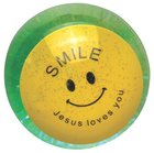 Water Ball Bouncy Ball With Green Glitter: Jesus Loves You, 6.5cm