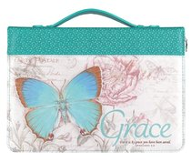 Bible Cover Large: Grace Eph. 2:8 Butterfly Blue/Green Fashion Trendy Luxleather