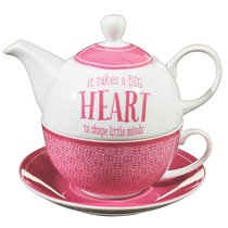 Ceramic Tea Pot & Colored Saucer: It Takes a Big Heart to Shape Little Minds White/Dark Pink