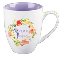 Stoneware Mug: Give Me Jesus Purple/White (Colored Wreath)