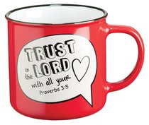 Stoneware Mug: Trust in the Lord With All Your Heart Proverbs 3:5 (Red/white)