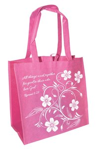 Eco Totes: All Things Work Together For Good, Pink With Dark Pink Sides (Romans 8:28)