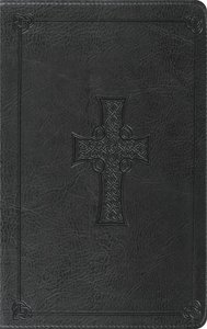 ESV Thinline Bible Charcoal Celtic Cross Design Red Letter Edition