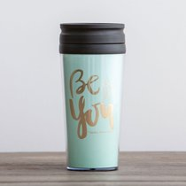 Travel Mug: Be You (Colossians 1:27) (Pale Blue/Gold) (Sadie Robertson Gift Products Series)