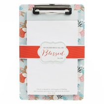 Clipboard With Notepad: Blessed, Red/Flowers (Prov 31:28)