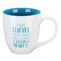 Ceramic Mug: A Good Teacher..... White/Blue