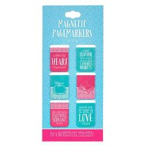 Magnetic Bookmark Set of 6: For a Wonderful Teacher (Blue/pink/white)