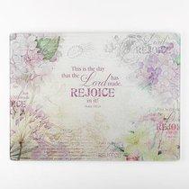 Large Glass Cutting Board: Rejoice, Purple/Flowers (Ps 118:24)