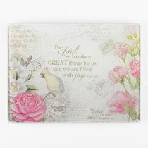 Small Glass Cutting Board: Great Things, Floral/Bird (Ps 126:3)