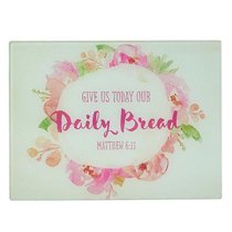 Large Glass Cutting Board: Give Us Today Our Daily Bread (Colored Pink Wreath)