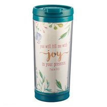 Polymer Mug W/Design Insert: Joy in Your Presence... (Dark Blue/white)