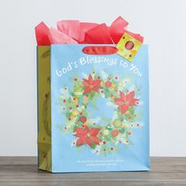 Christmas Gift Bag Large: Gods Blessings (2 Cor 13:11 KJV) (Incl Tissue Paper & Gift Tag)
