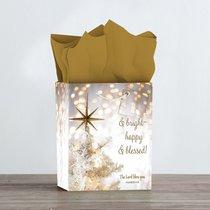 Christmas Gift Bag Medium: Merry & Bright - Happy & Blessed (Bokeh)