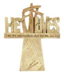 Tabletop Resin Cross: He Lives (John 11:25)