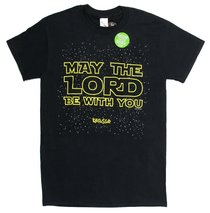 Mens T-Shirt: May the Lord X-Large Black/Gold (2 Thess 3:16)