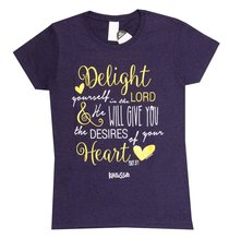 Womens T-Shirt: Delight in the Lord Large Dark Purple/Gold/White (Missy Cut)