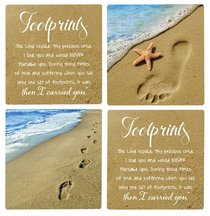 Absorbent Ceramic Coaster Set of 4: Footprints
