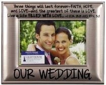 Photo Frame Beveled Metal: Our Wedding (1 Cor 13:13, Eph 5:2)