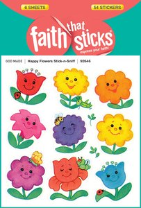Happy Flowers Stick-N-Sniff (6 Sheets, 54 Stickers) (Stickers Faith That Sticks Series)