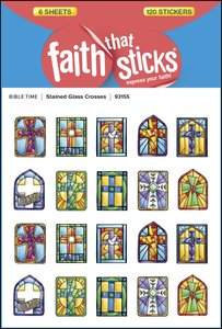 Stained Glass Crosses (6 Sheets, 10 Designs, 120 Stickers) (Stickers Faith That Sticks Series)