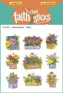 Blessing Boxes (6 Sheets, 54 Stickers) (Stickers Faith That Sticks Series)
