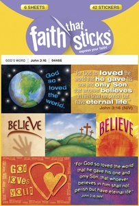 John 3:16 (6 Sheets, 42 Stickers) (Stickers Faith That Sticks Series)