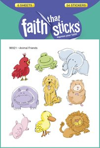 Animal Friends (6 Sheets, 54 Stickers) (Stickers Faith That Sticks Series)