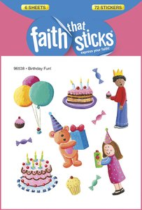 Birthday Fun! (6 Sheets, 72 Stickers) (Stickers Faith That Sticks Series)
