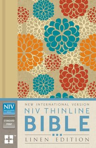 NIV Thinline Bible Linen Edition Colourful Floral Design (Red Letter Edition)
