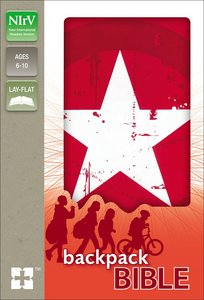 NIRV Backpack Bible Red/White Star
