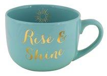 Large Gold Trimmed Mug: Rise & Shine, Mint