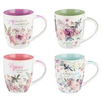 Ceramic Mug: Rejoice Collection Floral, Sold in Set Only! (Set Of 4)