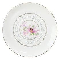 New-Bone China Plate: The Lord Bless You and Keep You, White/Floral Blessings From Above Collection