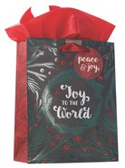 Christmas Gift Bag Medium: Joy to the World With Tissue Paper, Gift Tag & Satin Ribbon Handles