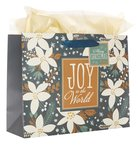 Christmas Gift Bag Large: Joy to the World With Tissue Paper, Gift Tag & Satin Ribbon Handles