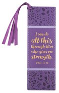 Bookmark With Tassel: I Can Do All Things, (Purple/floral)