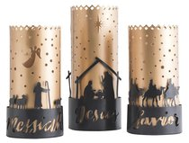 Christmas Names of Jesus Trio Hurricane Candle Holders: Savior, Jesus, Messiah