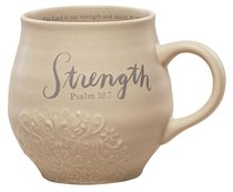 Ceramic Stoneware Mug: Strength Beige (Psalm 28:7)