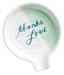 Ceramic Spoon Rest: Give Thanks Mint Green (Psalm 105:1)