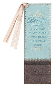 Bookmark Luxleather Tassel: Blessed Turquoise/Brown (Luke 1:45)