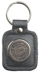 Luxleather Keyring With Charm: Mens Strong & Courageous