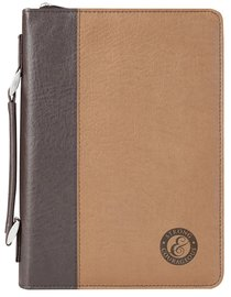 Bible Cover Strong & Courageous Large Brown/Dark Brown
