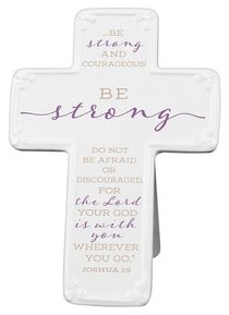 Ceramic Cross: Be Strong, Purple/White (Joshua 1:9)