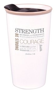 Ceramic Tumbler Mug: Strength, Cream (Joshua 1:9)