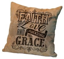 Leather Pillow: Faith Love and Amazing Grace, 35Cm X 35Cm