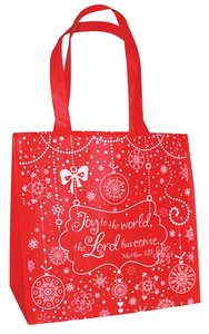Glittery Christmas Eco Tote Bag: Joy to the World (Red/white)