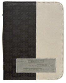 Bible Cover Divine Details: Medium, Phil 4:13 (Charcoal/beige)
